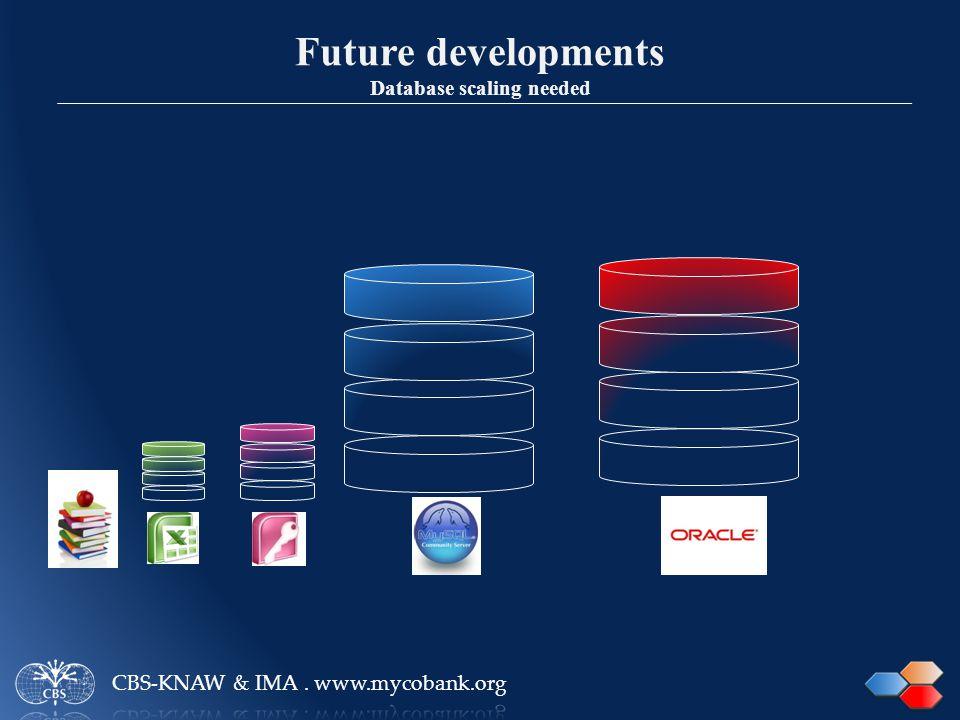 Future developments Database scaling needed