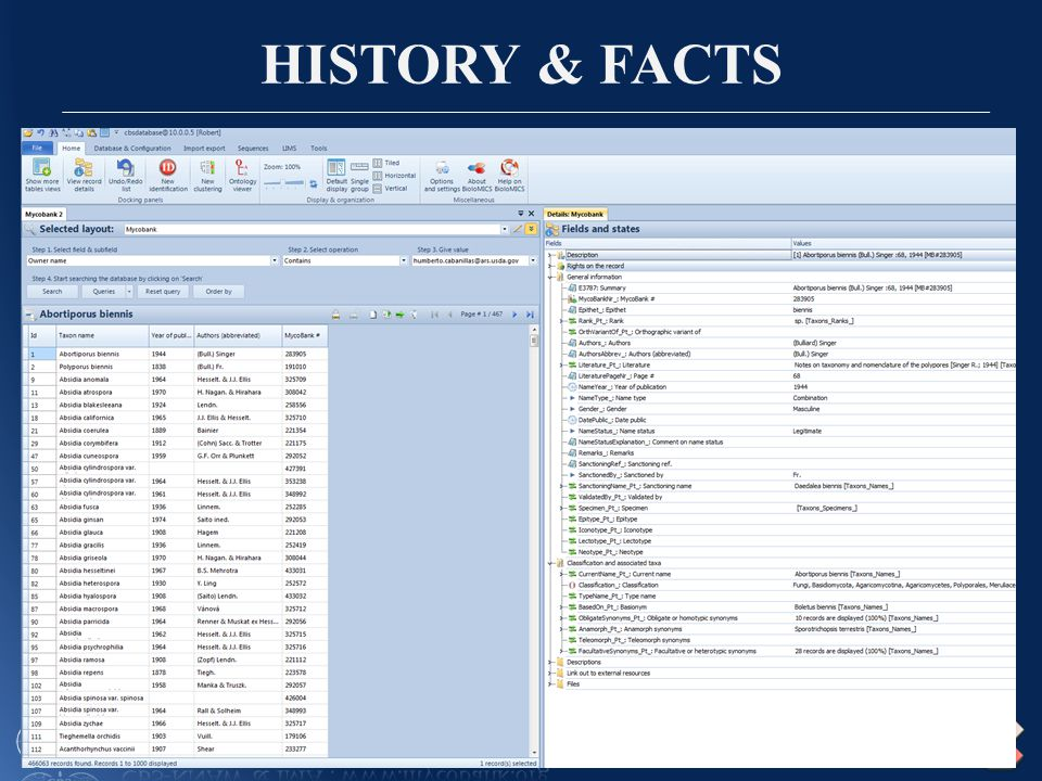 HISTORY & FACTS New version of MycoBank released in April 2012 with a number of new features: 7.Multilingual 8.Remote curation of MycoBank allows curators from all around the world to manage the system, will be effectively available in April 2013.Remote curation of MycoBank