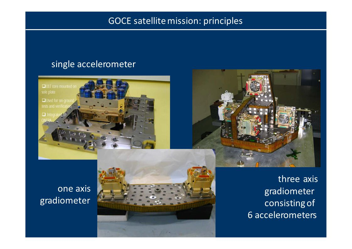 single accelerometer one axis gradiometer three axis gradiometer consisting of 6 accelerometers GOCE satellite mission: principles