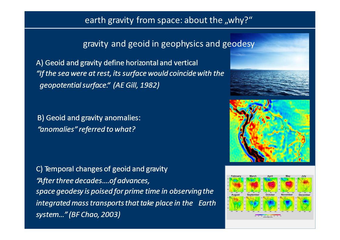 gravity and geoid in geophysics and geodesy A)Geoid and gravity define horizontal and vertical If the sea were at rest, its surface would coincide with the geopotential surface. (AE Gill, 1982) B)Geoid and gravity anomalies: anomalies referred to what.