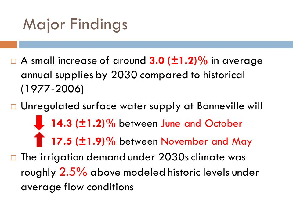 Major Findings  A small increase of around 3.0 (±1.2)% in average annual supplies by 2030 compared to historical (1977-2006)  Unregulated surface wa