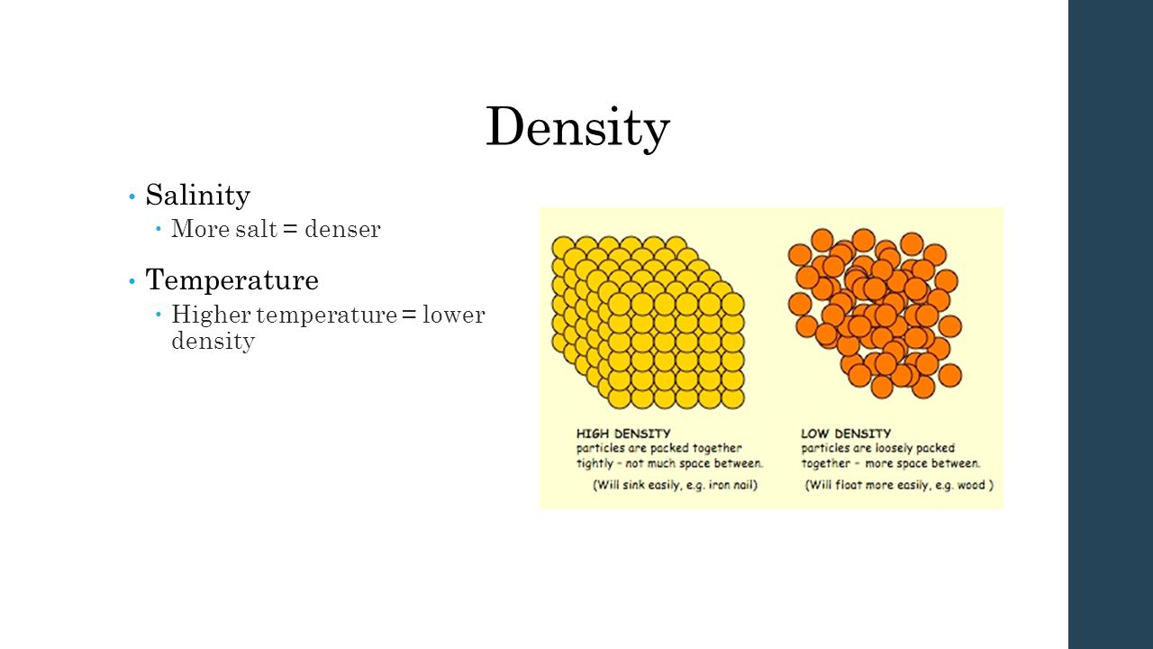 Density Salinity  More salt = denser Temperature  Higher temperature = lower density