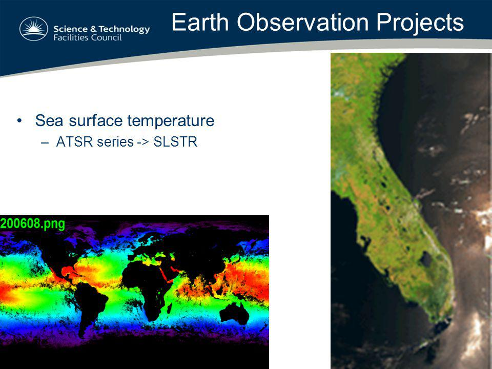 Earth Observation Projects Sea surface temperature –ATSR series -> SLSTR