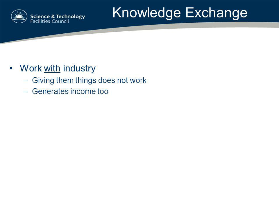 Knowledge Exchange Work with industry –Giving them things does not work –Generates income too