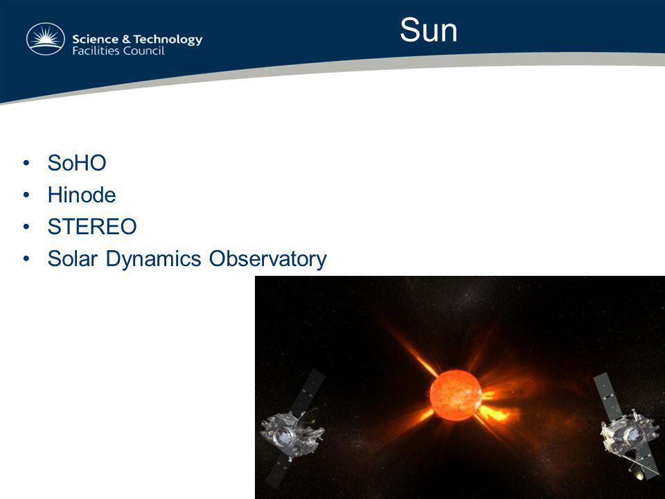 Sun SoHO Hinode STEREO Solar Dynamics Observatory