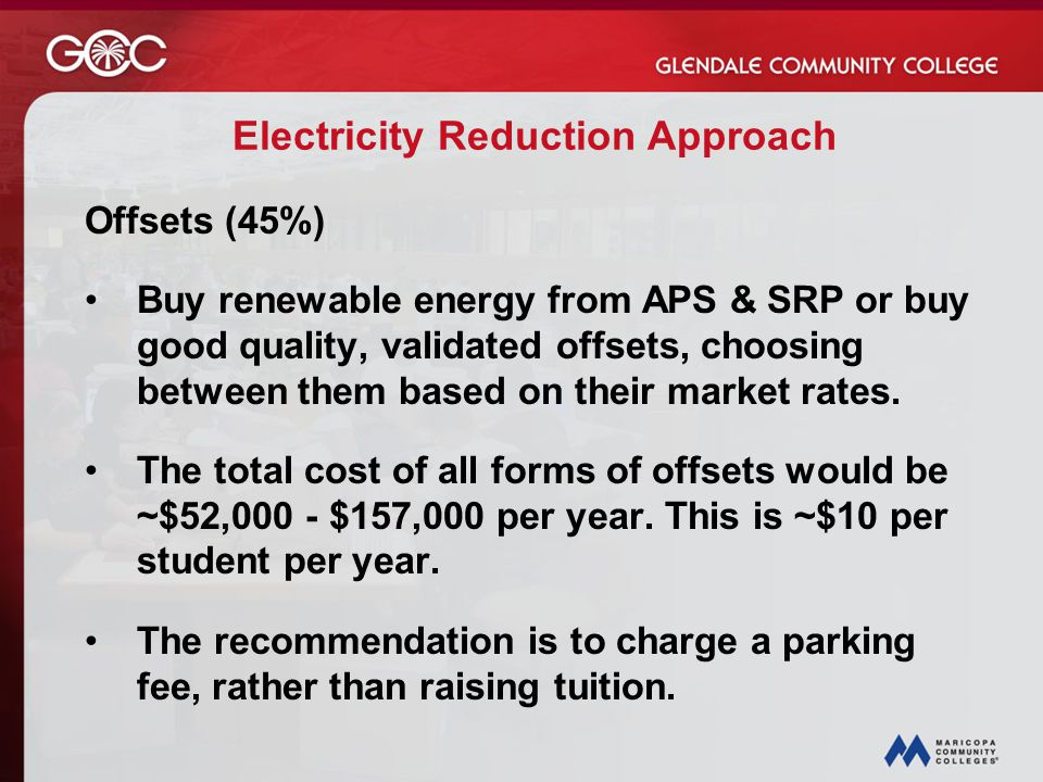 Electricity Reduction Approach Offsets (45%) Buy renewable energy from APS & SRP or buy good quality, validated offsets, choosing between them based on their market rates.