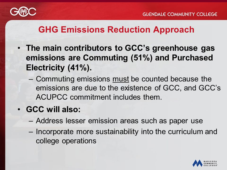 GHG Emissions Reduction Approach The main contributors to GCC's greenhouse gas emissions are Commuting (51%) and Purchased Electricity (41%).