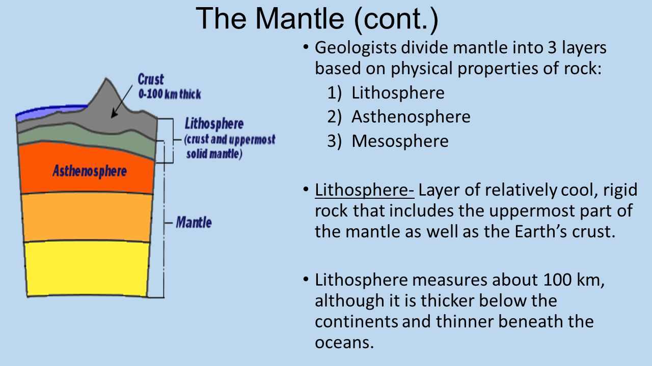 The Mantle (cont.) Geologists divide mantle into 3 layers based on physical properties of rock: 1)Lithosphere 2)Asthenosphere 3)Mesosphere Lithosphere