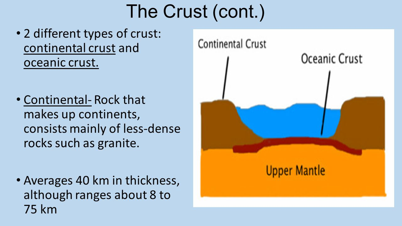 The Crust (cont.) 2 different types of crust: continental crust and oceanic crust. Continental- Rock that makes up continents, consists mainly of less