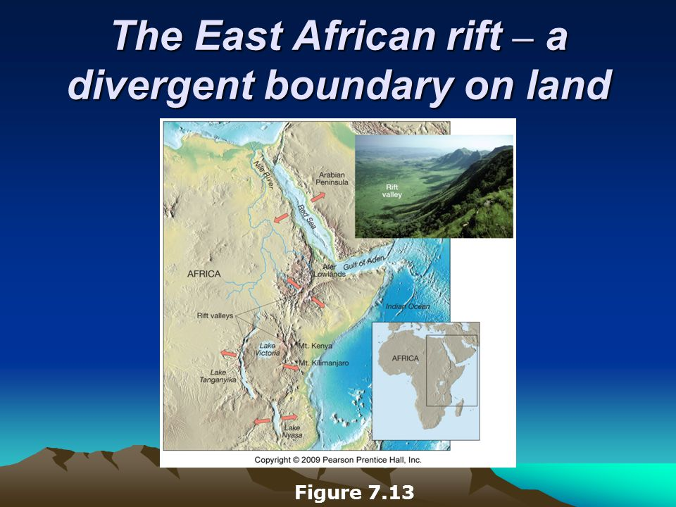 The East African rift – a divergent boundary on land Figure 7.13