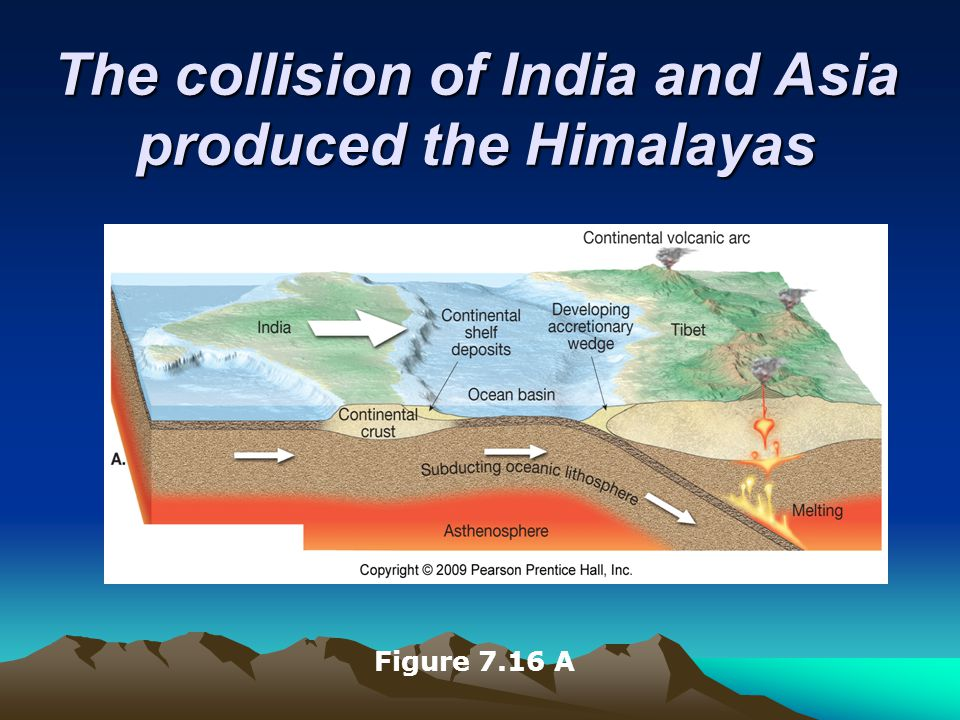 The collision of India and Asia produced the Himalayas Figure 7.16 A