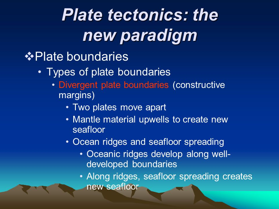 Plate tectonics: the new paradigm  Plate boundaries Types of plate boundaries Divergent plate boundaries (constructive margins) Two plates move apart