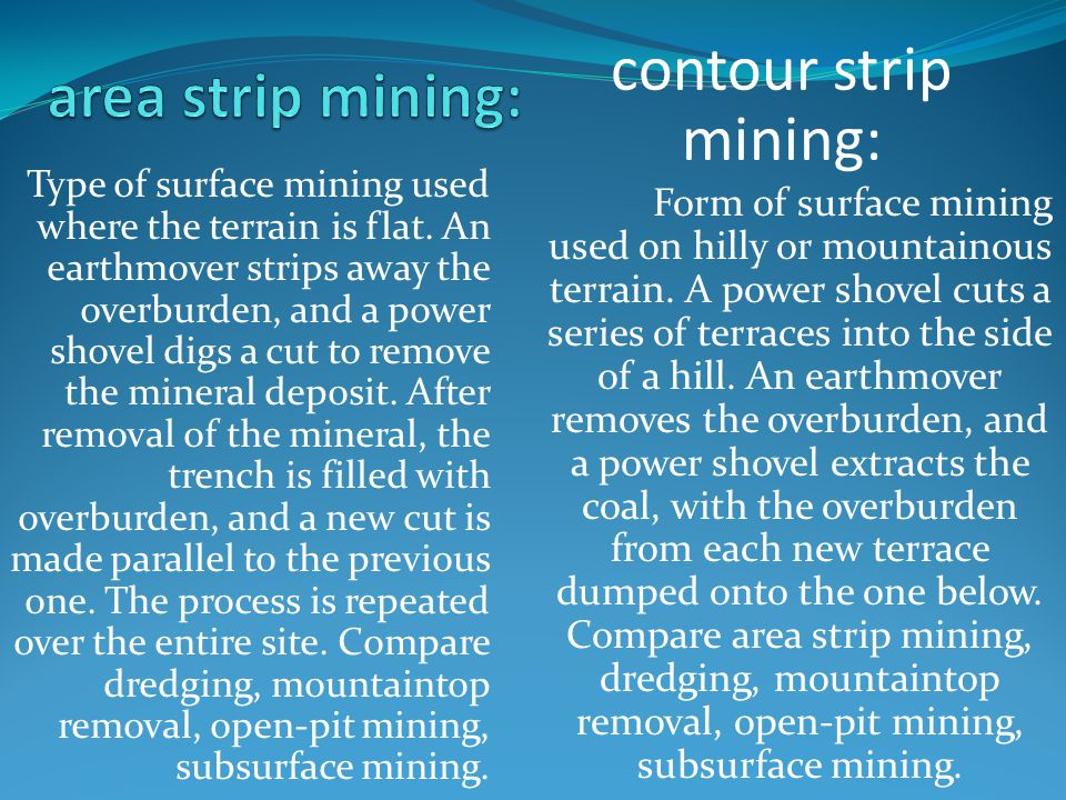 Type of surface mining used where the terrain is flat.