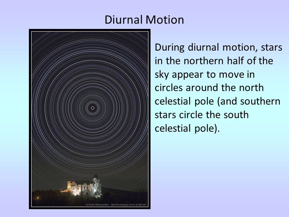Diurnal Motion During diurnal motion, stars in the northern half of the sky appear to move in circles around the north celestial pole (and southern st