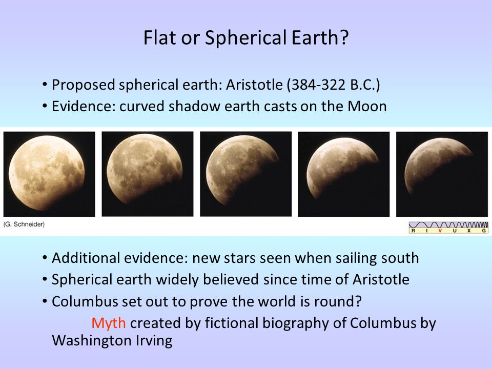 Flat or Spherical Earth? Proposed spherical earth: Aristotle (384-322 B.C.) Evidence: curved shadow earth casts on the Moon Additional evidence: new s