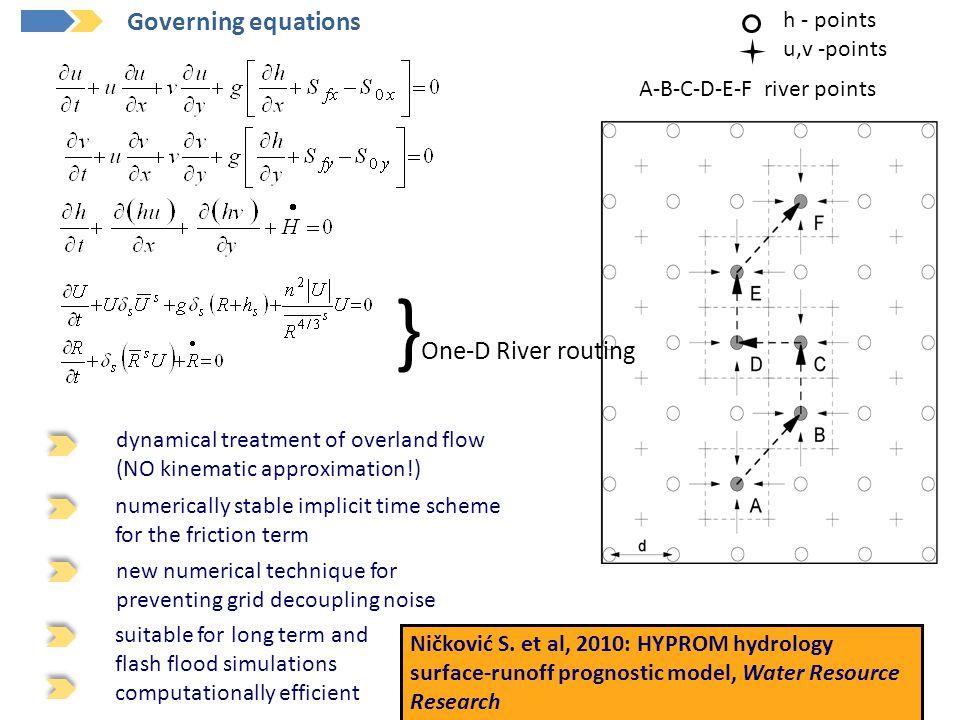A-B-C-D-E-F river points h - points u,v -points Ničković S. et al, 2010: HYPROM hydrology surface-runoff prognostic model, Water Resource Research dyn