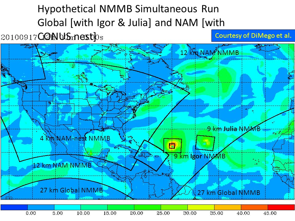 27 km Global NMMB 12 km NAM NMMB 4 km NAM-nest NMMB 9 km Igor NMMB 9 km Julia NMMB Hypothetical NMMB Simultaneous Run Global [with Igor & Julia] and NAM [with CONUS nest] Courtesy of DiMego et al.