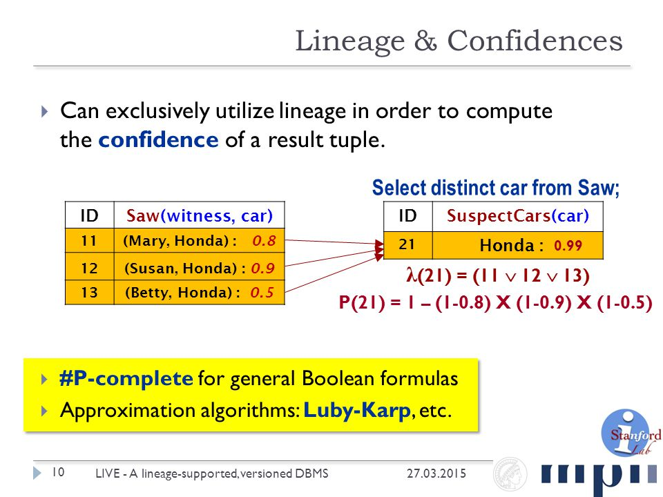  Can exclusively utilize lineage in order to compute the confidence of a result tuple.