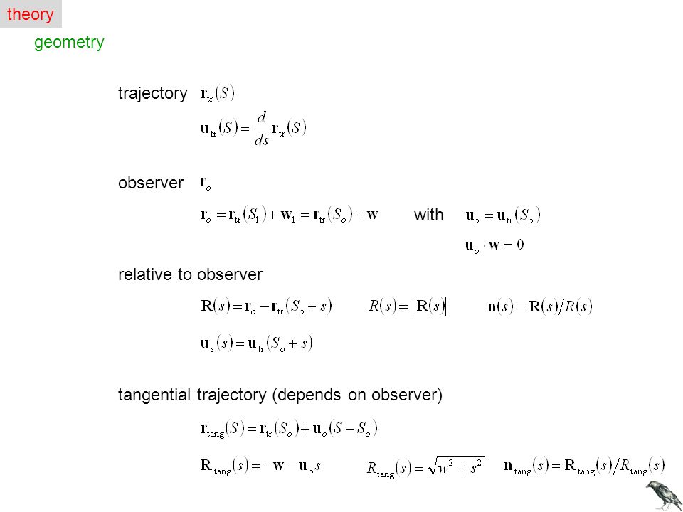 geometry trajectory observer with relative to observer tangential trajectory (depends on observer) theory