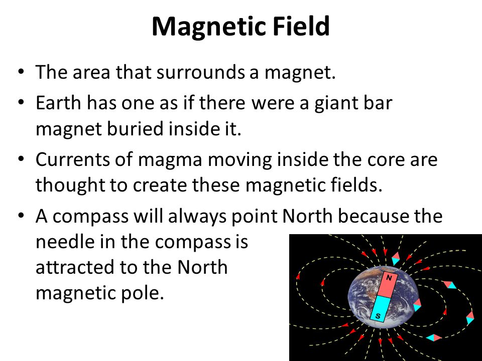 Magnetic Field The area that surrounds a magnet.