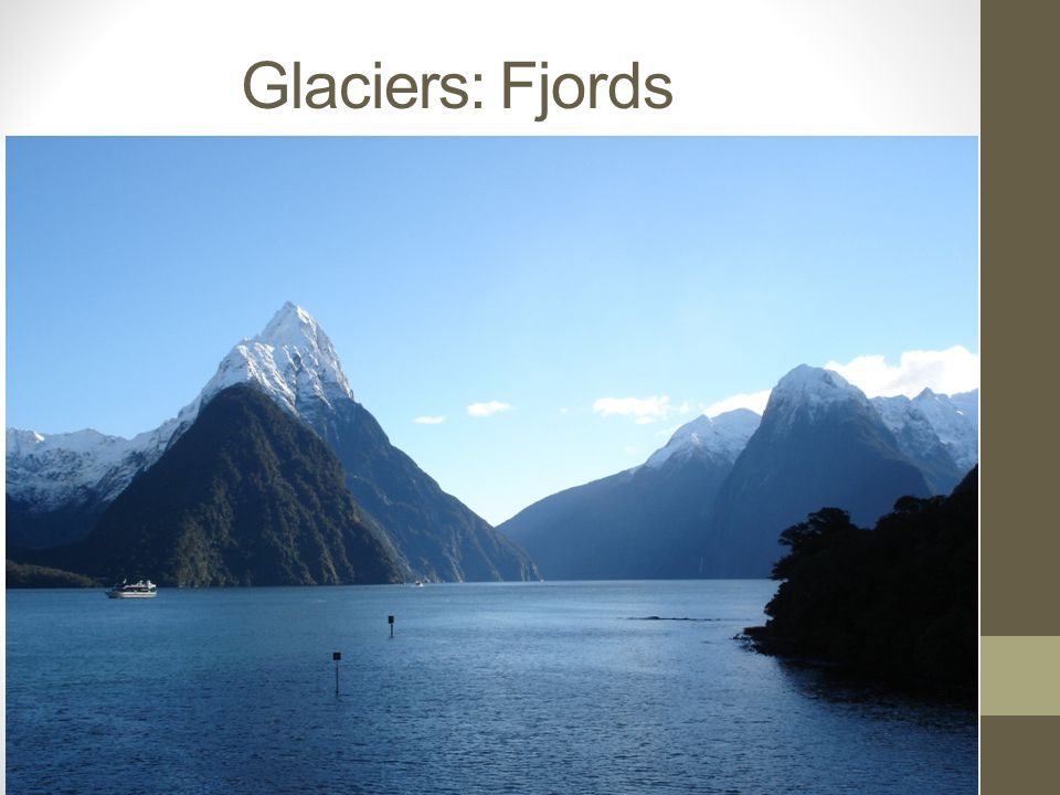 Weathering, Erosion, and Deposition by Ice Formation of Fjords Fjords are created when glaciers retreat.