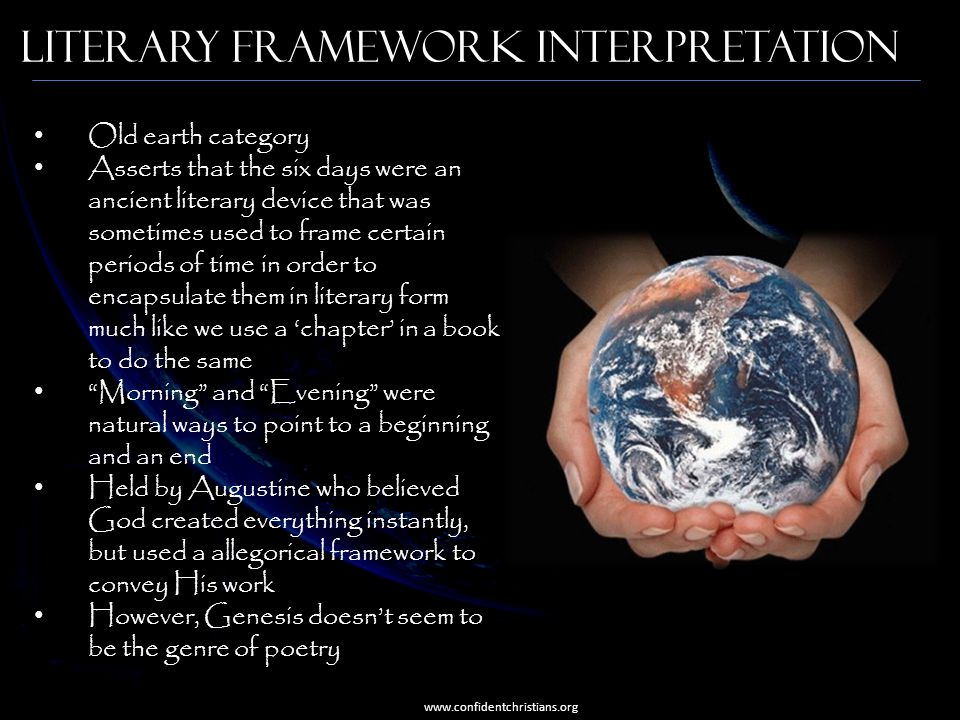 Literary Framework Interpretation Old earth category Asserts that the six days were an ancient literary device that was sometimes used to frame certai