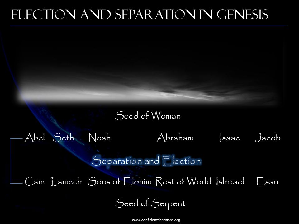 Election and Separation in Genesis www.confidentchristians.org Seed of Woman Abel Seth Noah Abraham Isaac Jacob Cain Lamech Sons of Elohim Rest of Wor