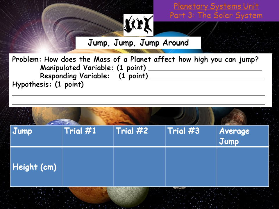 Planetary Systems Unit Part 3: The Solar System Jump, Jump, Jump Around Problem: How does the Mass of a Planet affect how high you can jump.