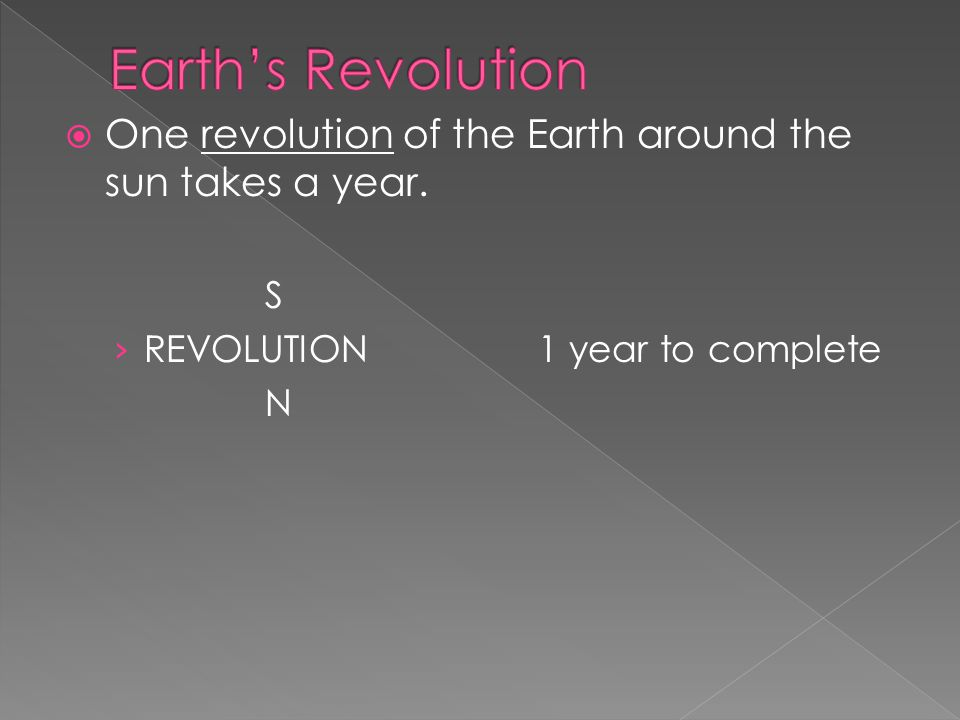  One revolution of the Earth around the sun takes a year. S › REVOLUTION1 year to complete N