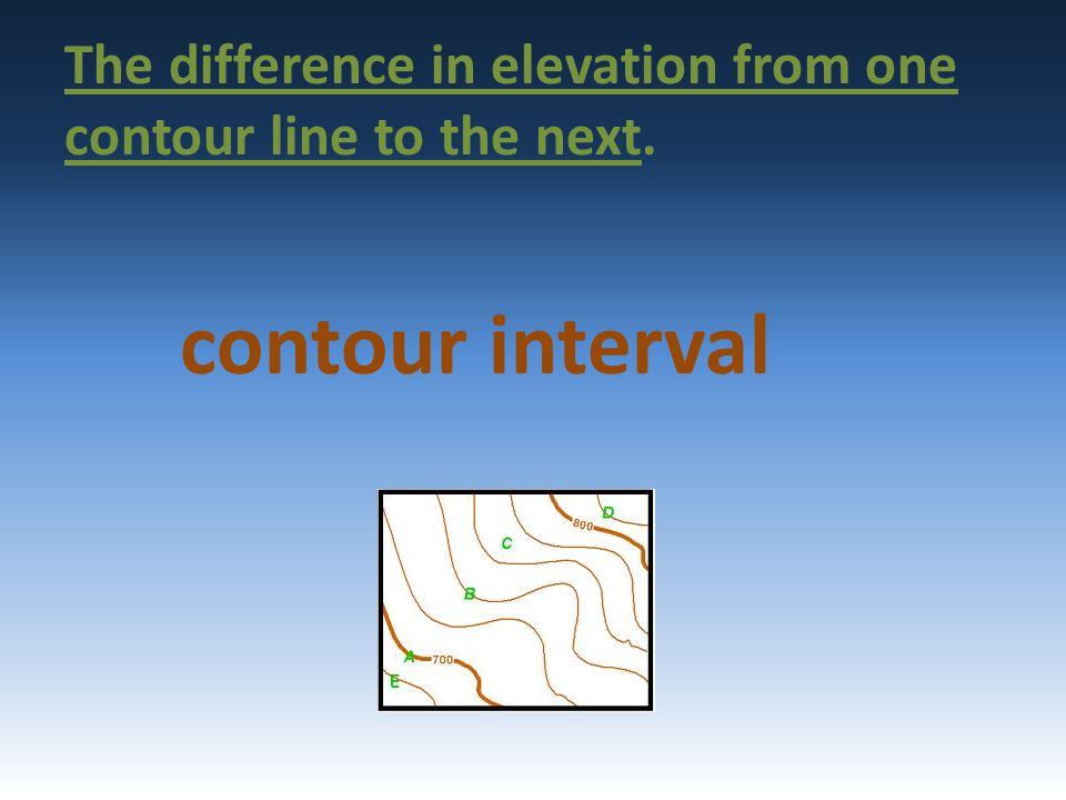 The difference in elevation from one contour line to the next. contour interval