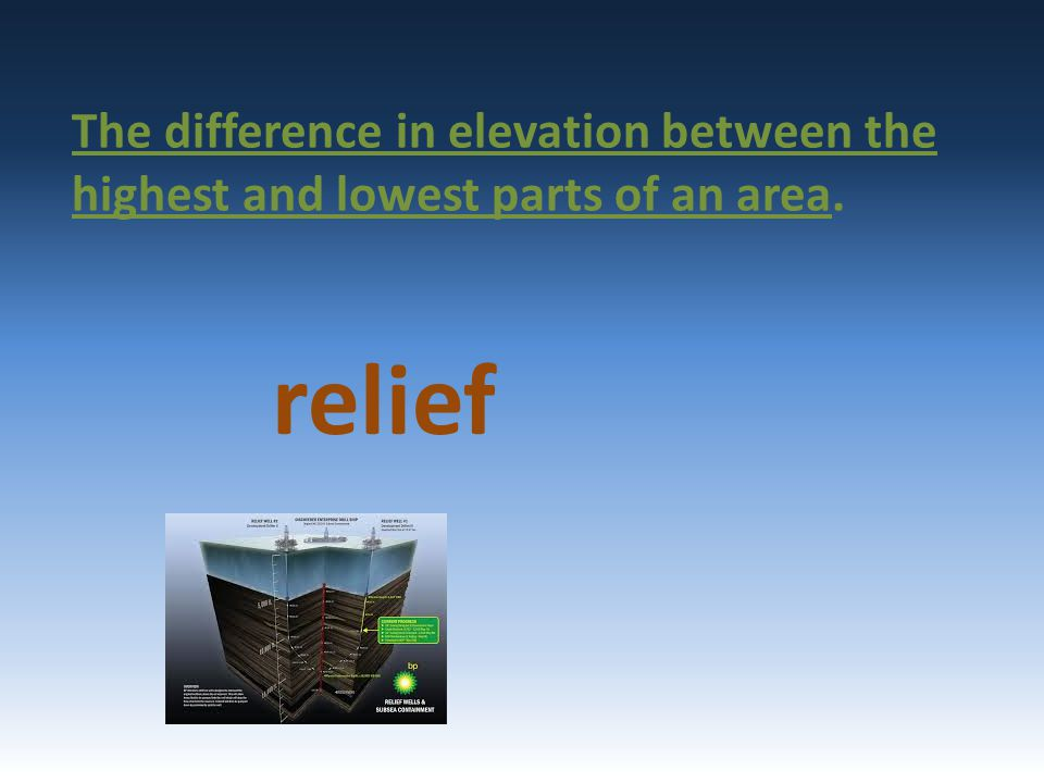 The difference in elevation between the highest and lowest parts of an area. relief
