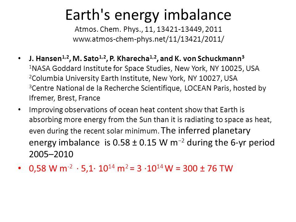 Earth s energy imbalance Atmos. Chem.