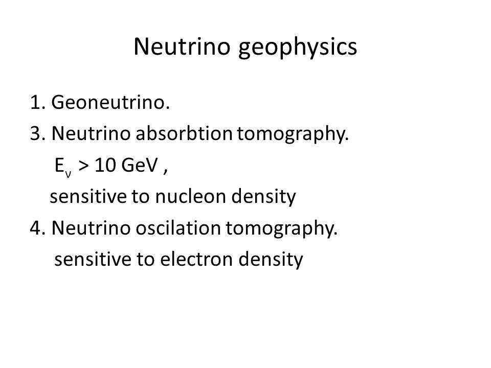 Neutrino geophysics 1. Geoneutrino. 3. Neutrino absorbtion tomography.