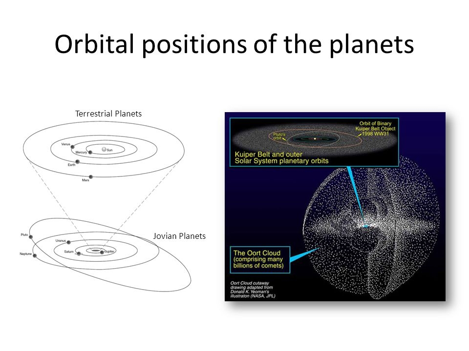 Orbital positions of the planets Terrestrial Planets Jovian Planets