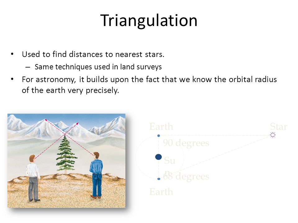 Triangulation Used to find distances to nearest stars. – Same techniques used in land surveys For astronomy, it builds upon the fact that we know the
