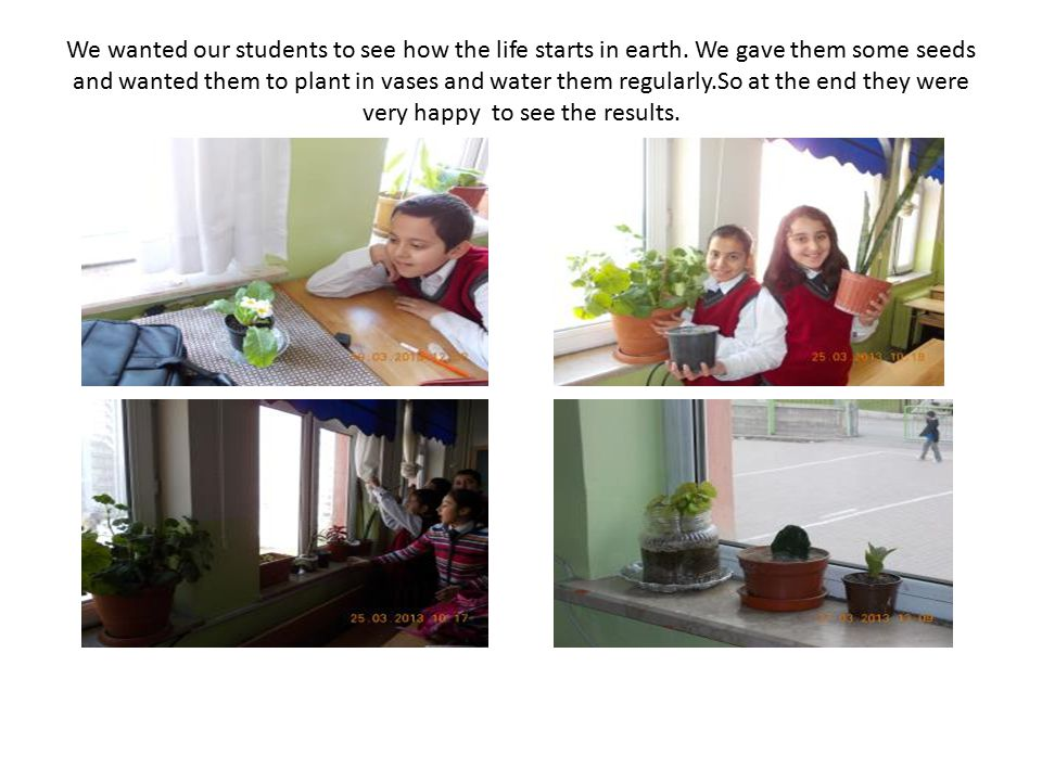 We wanted our students to see how the life starts in earth.