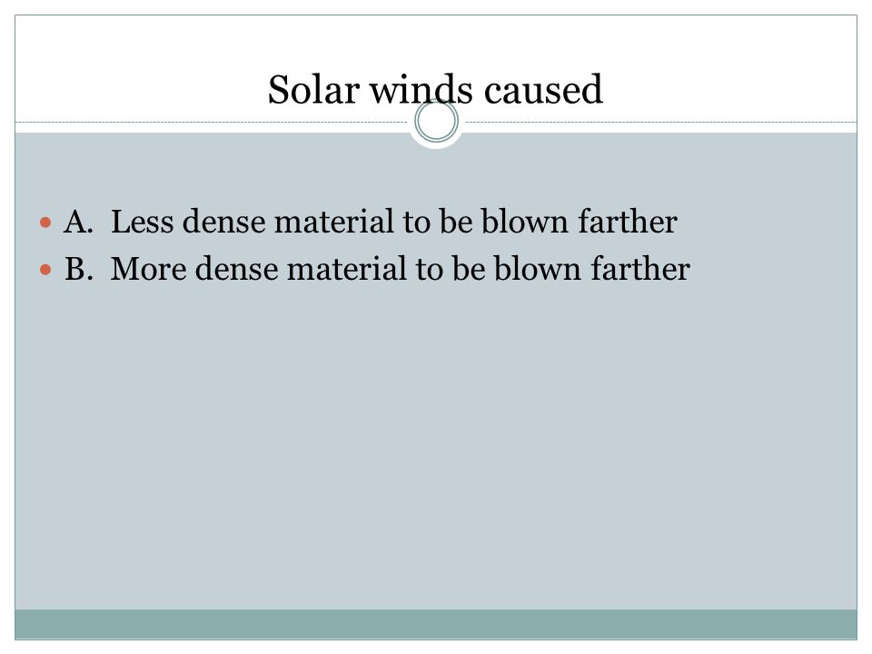 Solar winds caused A. Less dense material to be blown farther B. More dense material to be blown farther