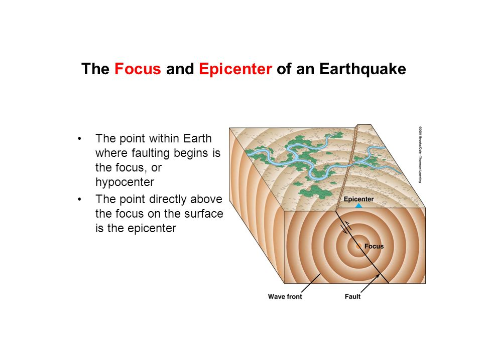 The Focus and Epicenter of an Earthquake The point within Earth where faulting begins is the focus, or hypocenter The point directly above the focus o