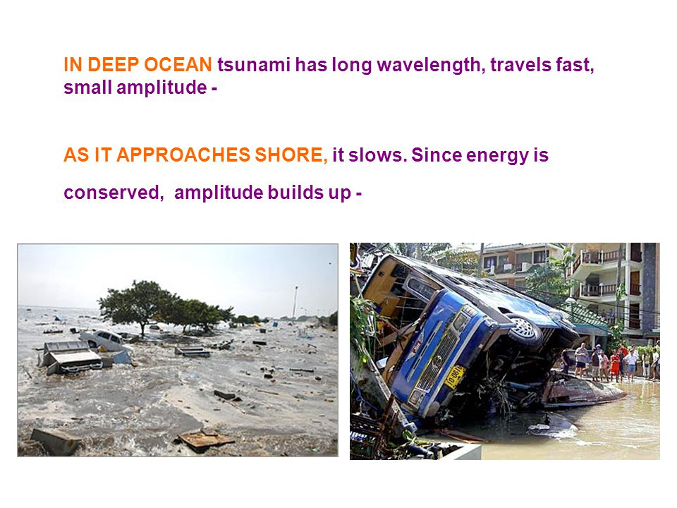 IN DEEP OCEAN tsunami has long wavelength, travels fast, small amplitude - doesn't affect ships AS IT APPROACHES SHORE, it slows. Since energy is cons