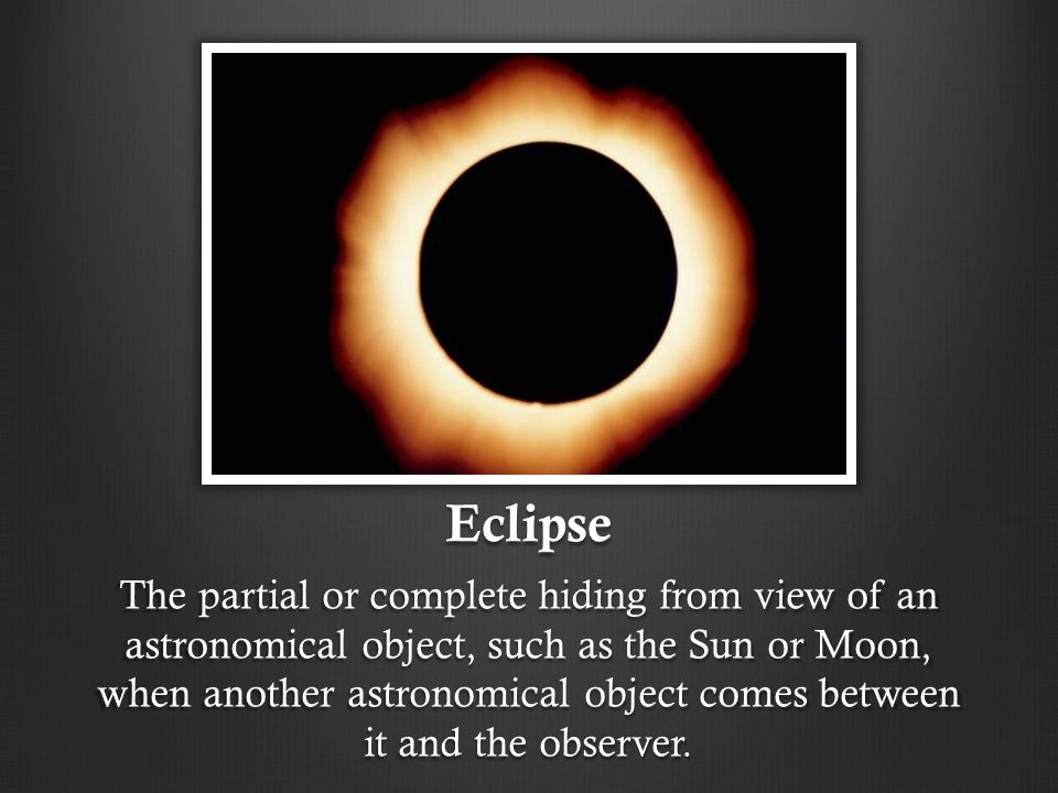 Eclipse The partial or complete hiding from view of an astronomical object, such as the Sun or Moon, when another astronomical object comes between it