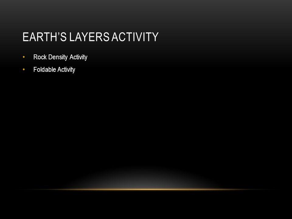 EARTH'S LAYERS ACTIVITY Rock Density Activity Foldable Activity