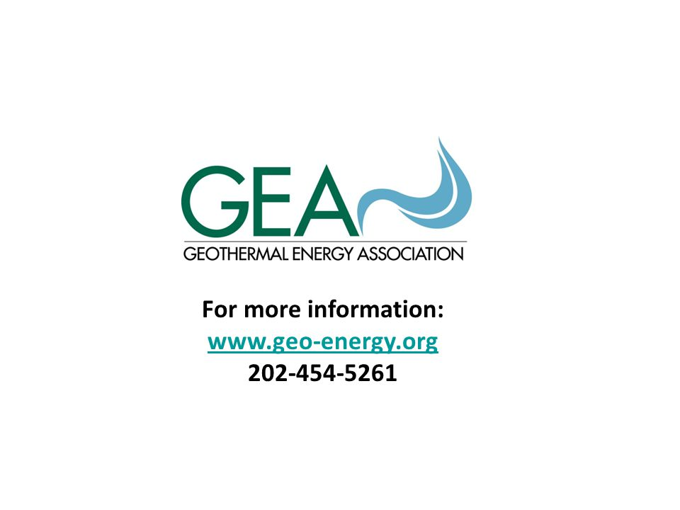 For more information: www.geo-energy.org 202-454-5261