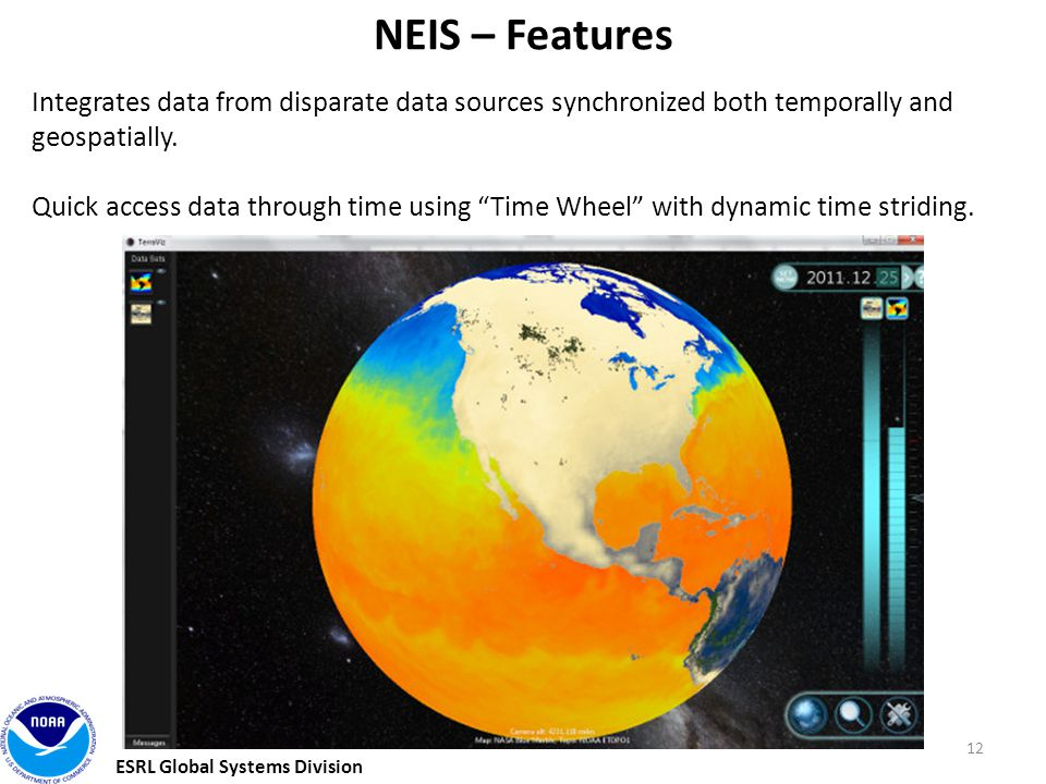 ESRL Global Systems Division 12 NEIS – Features Integrates data from disparate data sources synchronized both temporally and geospatially.