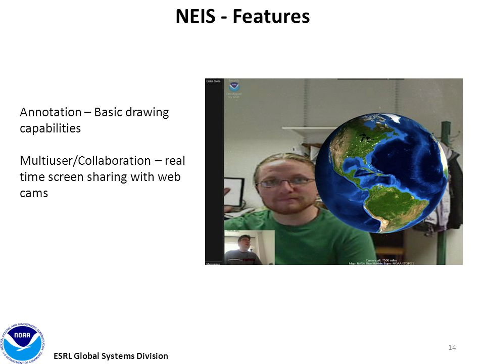 ESRL Global Systems Division 14 NEIS - Features Annotation – Basic drawing capabilities Multiuser/Collaboration – real time screen sharing with web cams