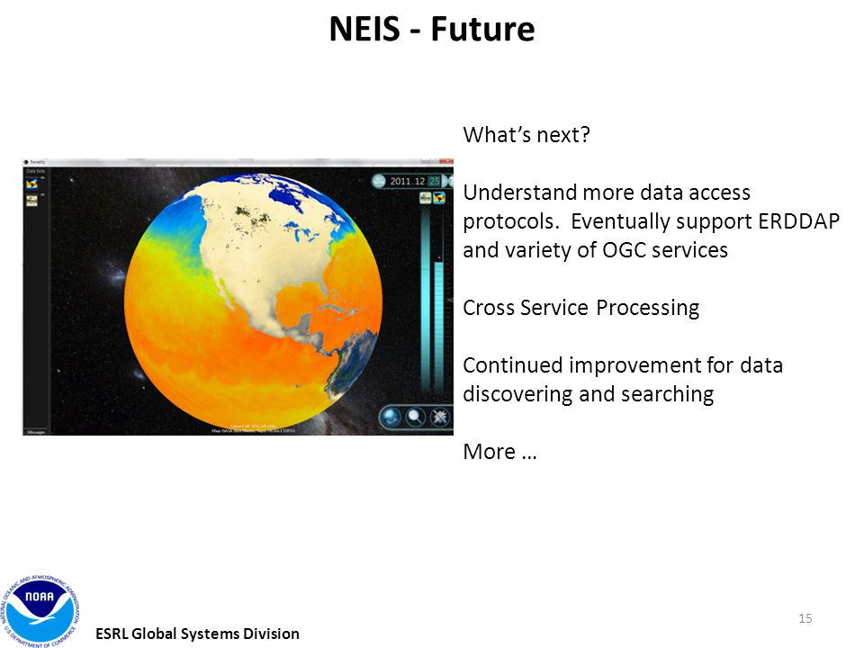 ESRL Global Systems Division 15 NEIS - Future What's next.