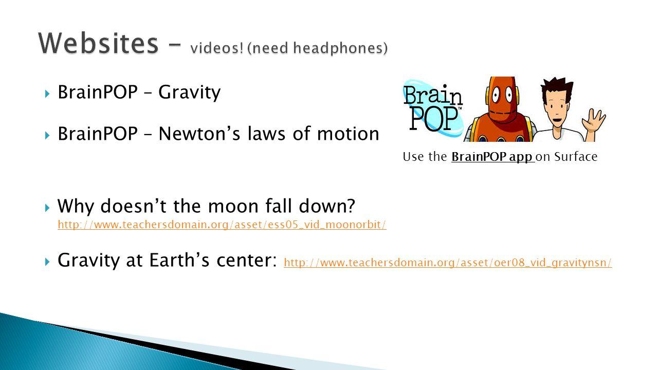  BrainPOP – Gravity  BrainPOP – Newton's laws of motion  Why doesn't the moon fall down? http://www.teachersdomain.org/asset/ess05_vid_moonorbit/ h