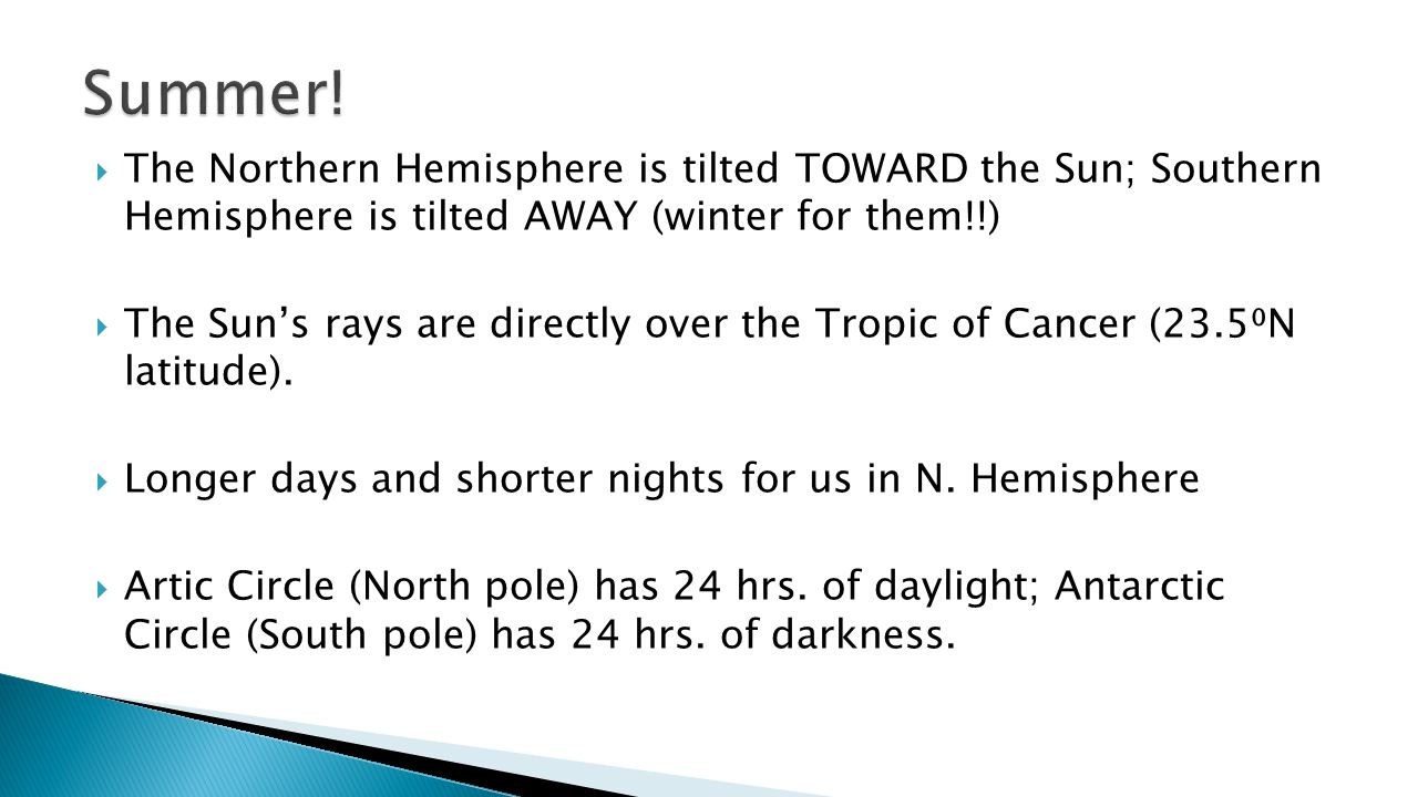  The Northern Hemisphere is tilted TOWARD the Sun; Southern Hemisphere is tilted AWAY (winter for them!!)  The Sun's rays are directly over the Trop
