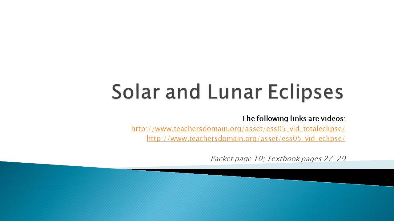The following links are videos: http://www.teachersdomain.org/asset/ess05_vid_totaleclipse/ http://www.teachersdomain.org/asset/ess05_vid_eclipse/ Pac