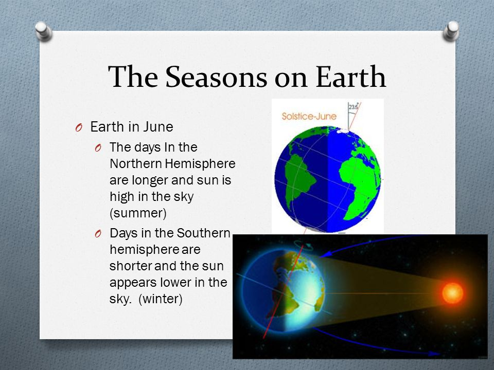 The Seasons on Earth O Earth in June O The days In the Northern Hemisphere are longer and sun is high in the sky (summer) O Days in the Southern hemisphere are shorter and the sun appears lower in the sky.