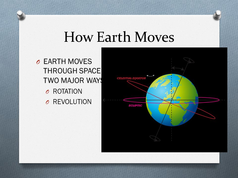 How Earth Moves O EARTH MOVES THROUGH SPACE IN TWO MAJOR WAYS. O ROTATION O REVOLUTION